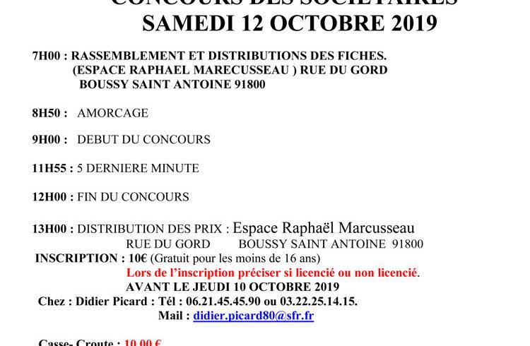Concours sociétaires samedi 12 octobre 2019